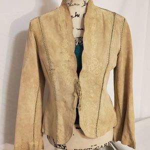 Newport News - Cami Leather Embroidered Blazer SZ6